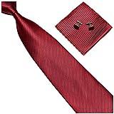GASSANI 3-SET Rote Krawatte Streifen gestreift | Binder Weinrot Manschettenknöpfe Einstecktuch | Krawattenset zum Anzug Seide-Optik