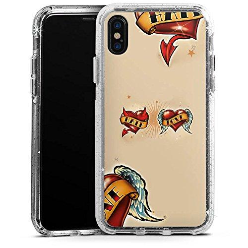 Apple iPhone 6s Plus Bumper Hülle Bumper Case Glitzer Hülle Amour Love Liebe Bumper Case Glitzer silber