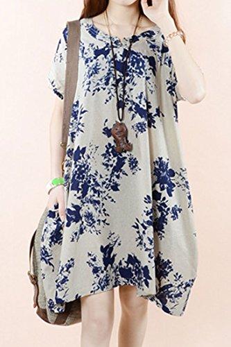 ACHICGIRL Floral Print Round Neckline Irregular Bottom Loose Fit Dress Apricot