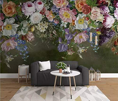 Fototapete 3D Effekt Tapete Europäischen Retro Handgemalten Rose Blume Vliestapete 3D Wallpaper Moderne Wanddeko Wandbilder -