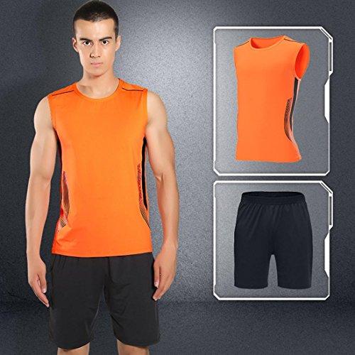 Fitness Athletic Mens 2 pezzi Abbigliamento Set Quick Dry Abbigliamento Set T-Shirt e Shorts Stretch traspirante per palestra e sport all'aria aperta A