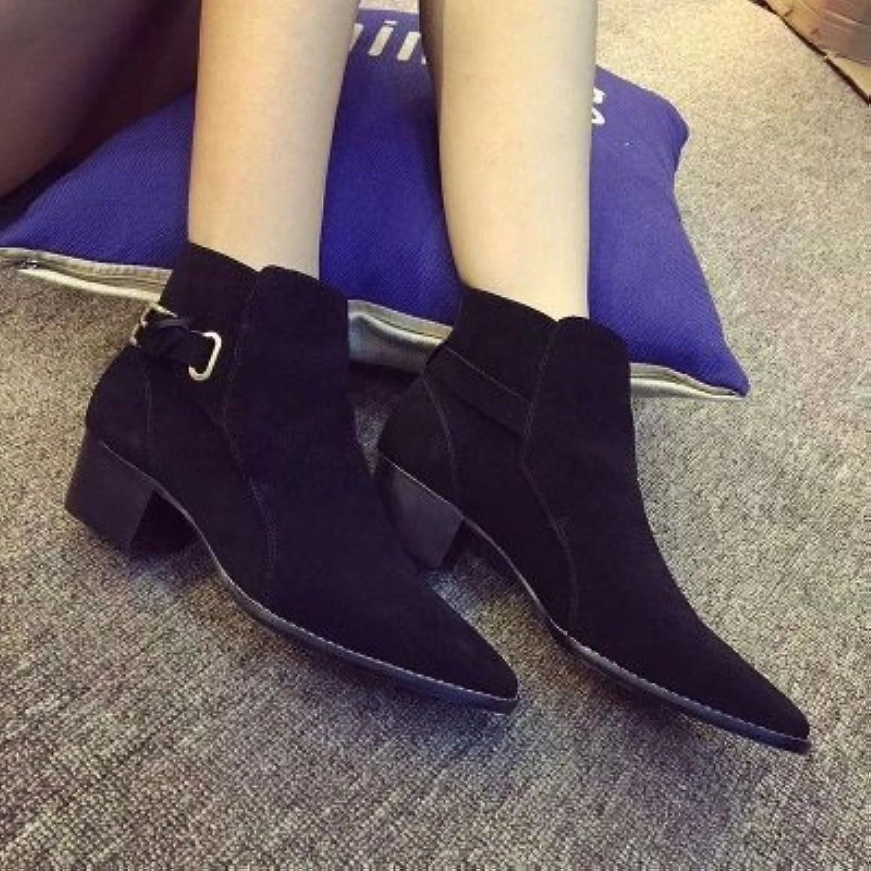 Angrousobiu Zapatos de mujer Botas de cuero hebilla del cinturón botas Color Borrado de cabeza redonda con negrita...