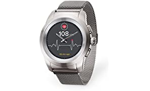 MyKronoz ZeTime Elite Hybrid Smartwatch 44mm with mechanical hands over a color touch screen – Brushed Silver / Milanese