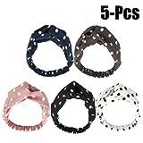 Fascigirl 5 PièCes Bandeau de TêTe ÉLastique à Cheveux Simple Point Imprimé Emballage Bandeau pour Les Femmes