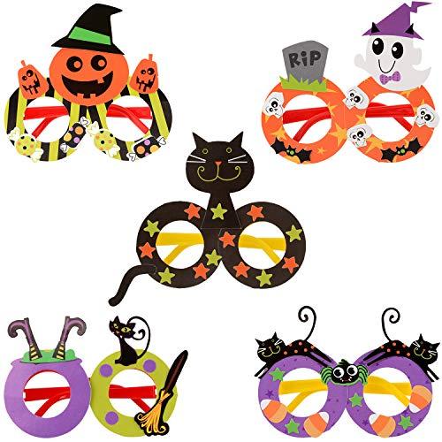 Party Brillen,JUSTDOLIFT 5 Paar Halloween Party Brillen für Kinder Lustige Neuheit Brillen Party Halloween Kostüm Brille Unisex-Kinder DIY Scherzbrillenla