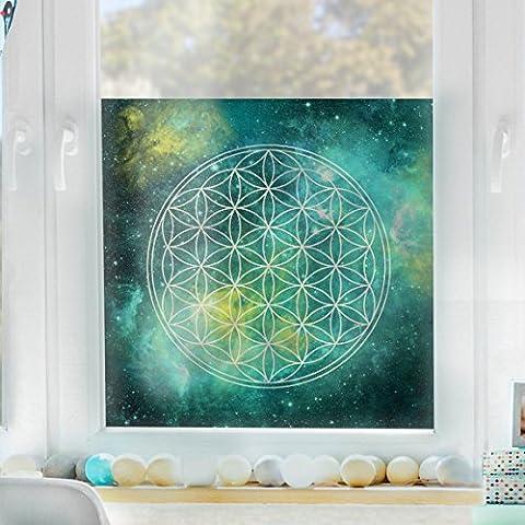 Mural para ventana Flower of Life, adhesivo para ventana, lámina para ventana, adhesivo de ventana, tatuaje para ventana, adhesivo para cristal, cuadro ventana, decoración para ventana, mural para ventana, Tamaño: 33cm x 33cm