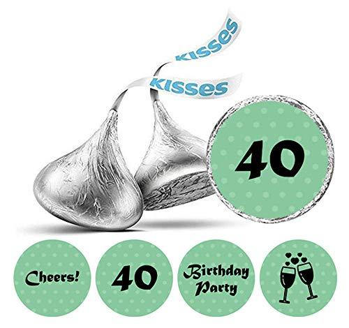 Darling Souvenir Packung mit 190 Stück DIY Prost 40. Geburtstag Aufkleber Hershey Kisses Labels-Mint