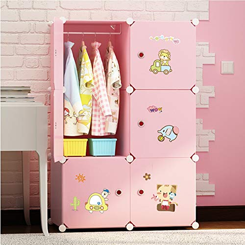 Einfach Kleiderschrank Niedlicher Cartoon Tiere Kinderzimmer Design Tragbarer Kleiderschrank Aufbewahrungsschränke Gestapelt Werden Können Kleiderschrank tragbare Closet