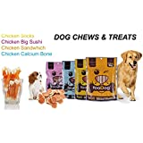 Pets Empire Best Combo Offer Dog Treats Puppy Chew Snacks,Chicken And White Calcium Bone,100 Gms + Chicken Sandwich, 100 Gms + Chicken Sticks,100 Gms + Chicken Big Sushi,100 Gms