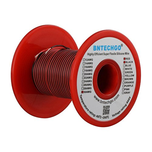 BNTECHGO 30 Gauge Silicone Wire Spool 50 feet Ultra Flexible High Temp 200 deg C 600V 30 AWG Silicone Wire 11 Strands of Tinned Copper Wire 25 ft Black and 25 ft Red Stranded Wire for Model Battery -