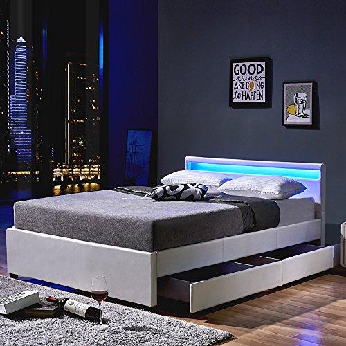 Home Deluxe LED Bett | Nube | Weiß | inkl. Schublade | Verschiedene Größen | 180 x 200 cm (Und Kopfteil Fußteil Leder)