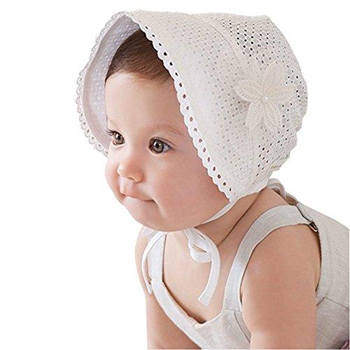 EROSPA® Süßes Baby Mützchen für Mädchen Spitze Häubchen Blume Spitze Sonne Prinzessin weiß (Kleine Cap Prinzessin)