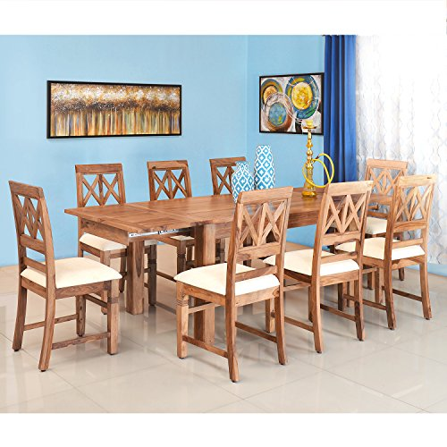 @home By Nilkamal Festo Eight Seater Dining Table Set (Beige)