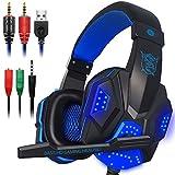 Gaming Headset con microfono e LED per computer portatile, cellulare, PS4 e nuova Xbox One, DLAND 3.5mm cablata a rumore isolamento Gaming Headphones - Controllo del volume (nero e blu) immagine