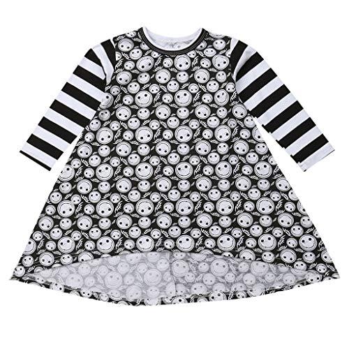 WQIANGHZI Kleid Baby Mädchen Kleider Jungen Top Halloween Mode Smiley-Gesicht Streifen Drucken Lange Ärmel Knielangkleid Freizeitkleider Babybekleidung