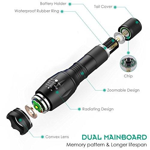 Linternas Led Alta Potencia Coomatec Flashlight  Linternas Tacticas Led Militar con Batería Recargable Cargador Gran Robustez Aluminio Sólida y Resistente  SD 100 Función de Memoria