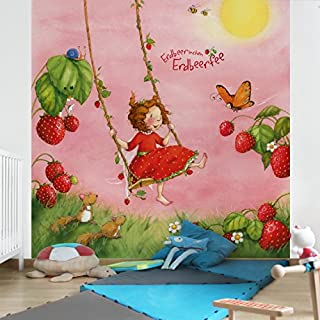 APALIS Non-Woven Wallpaper with Strawberry Fairy Tree Swing Photo Wallpaper Square Size, Red, 98450, 240 x 240 cm