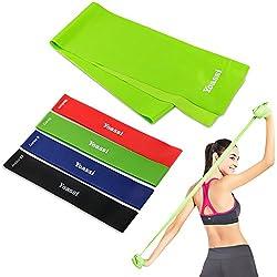 Yoassi Bandas de Resistencia, Kit de 5 Bandas Elasticas Fitness, de 4 Loop Bandas y 1 Plana Cinta de Ejercicios, para Yoga, Pilates, Crossfit, de Látex Natural, Multi-Colores