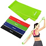 Yoassi Fitnessband 150 × 15 cm mit 4er-Set Widerstand-Bänder 30 × 5 cm in 4 Zugkraftstärken Trainingsbänder aus 100% Naturlatex