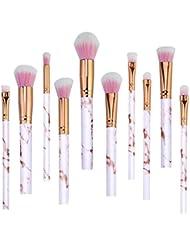 Rose Pinceaux Maquillage Professionnel 10 pièces Marbre Motif Lot de pinceaux de maquillage Fond de teint Blush poudre Fard à paupières Estompeur Cosmétique Brosse kit par Lark Bird …
