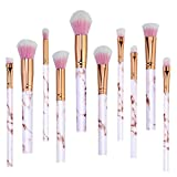 Best Cosmetics Sets - Pink Make Up Brushes Professional 10 Pieces Marble Review