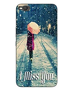 Make My Print Miss You Printed Grey Hard Back Cover For HTC One X9 Smartphon