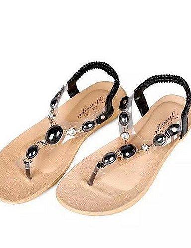 UWSZZ IL Sandali eleganti comfort Scarpe Donna-Sandali-Casual-Aperta-Piatto-Finta pelle-Nero / Blu / Bianco White
