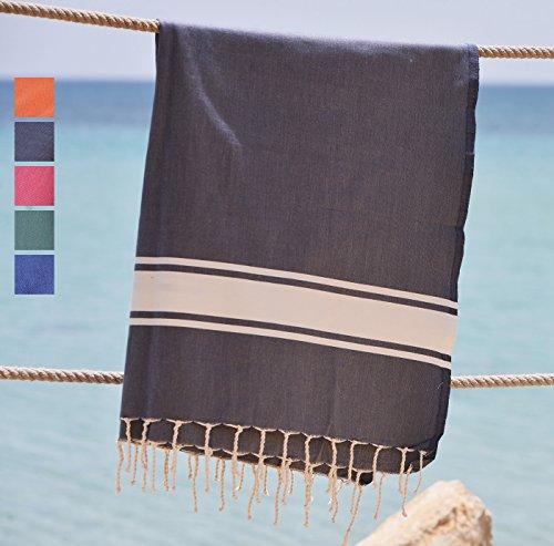 grande serviette de plage xxl - fouta XXL - grand drap de bain - 100x200 cm - 100% coton qualité supérieure - pas cher, léger, séchage rapide- Modèle Ocean Dream gris orage idéal comme serviette de plage ou pareo homme ou femme