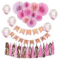 33 قطعة من لوازم الحفلات للاميرات الصغيرات باللون الوردي، مُزودة بلافتة عيد الميلاد، والبلالين، وشرابات الزينة لتزيين حفلة عيد الميلاد للأطفال البنات