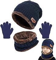 CheChury Niños Sombrero Caliente de Punto y Bufanda Guantes Tubular con Forro de Lana Niña Invierno Calentar G
