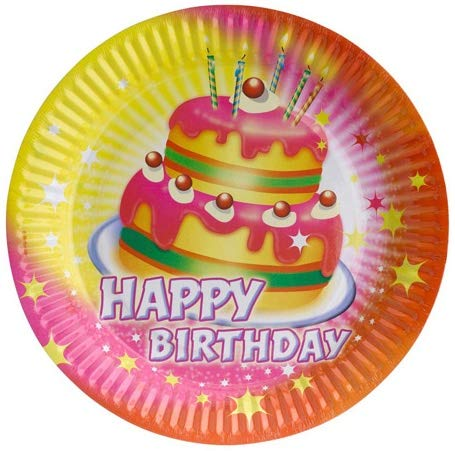 Pappteller 23cm Happy Birthday