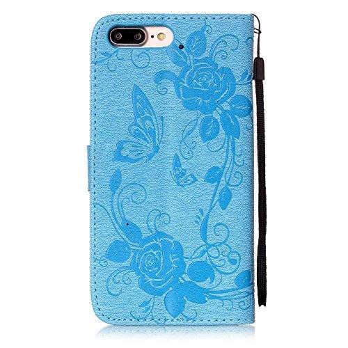C-Super Mall-UK Apple iPhone 7 Plus hülle: Qualität Exquisite Geprägtes Blumen & Schmetterling-Muster PU-Leder-Mappen-Standplatz -Schlag-hülle für Apple iPhone 7 Plus(grau) azure