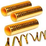 NEU Luftschlangen, 3er Pack, Metallic gold