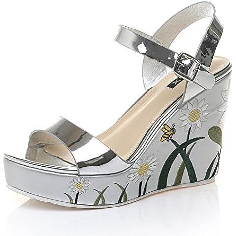 Señoras del verano sandalias de cuñas meseta ancho de ventas de flores cinta de zapatos romanos
