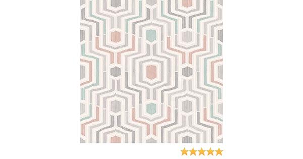 Green Blush 3D Geometric Wallpaper Embossed Grey White Metallic Grandeco Meso