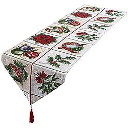 mookaitedecor Weihnachten Tischläufer, Tischtuch, Tischdecke, Tischband Dekorationen Tischdekoration für Feier, Party, Evendekorationen - Größe 33x170 cm