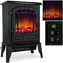 Cheminée électrique avec effet de chauffage et cheminée 2000 W Noir/lanc effet flamme flamme Ambiente Four avec chauffage soufflant, noir
