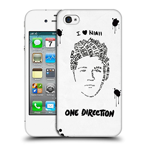 Head Case Designs Offizielle One Direction Niall Weiss BG Text Illustration Faces Harte Rueckseiten Huelle kompatibel mit iPhone 4 / iPhone 4S