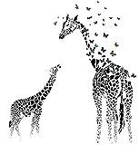 JUNGEN Giraffen Wandaufkleber Schmetterling Wandtattoo Wandbilder Dekorative für Schlafzimmer Studentwohnheimzimmer