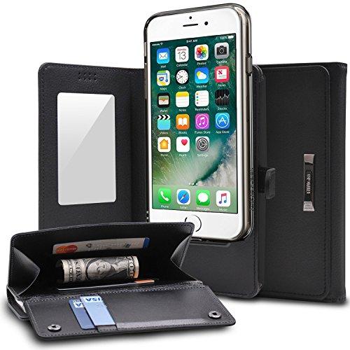 iPhone 7 Plus / iPhone 8 Plus Schutzhülle, Ringke [WALLET] Portemonnaie Schutzhülle, Kameraaussparung, Kartenhalterung, Premium PU Leder, Klappbarer Spiegel, Allumfassende Schutzhülle für das Apple iPhone 7 Plus – Schwarz Galaxy S3 3d Fall Tragen