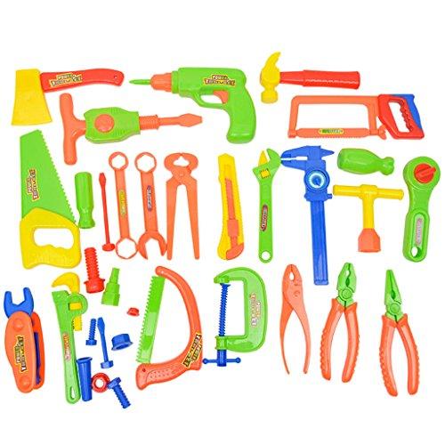 Homyl 33pcs/Set Kinder Werkzeugbox Werkzeuge Set für Kinder Handwerker Rollenspiel