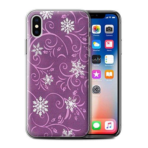Stuff4 Gel TPU Hülle / Case für Apple iPhone X/10 / Lila Muster / Schneeflocke-Muster Kollektion Rosa