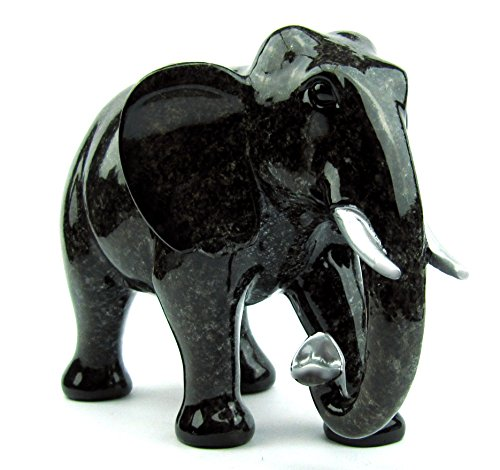 Deko Elefanten-Figur, Elefant in edler Naturstein-Granit Optik, Geschenk-Set Geschenkbox u. Schleifenband, Glücksbringer, Geschenkidee Weihnachten Geburtstag Deko Wohnzimmer (Höhe 12,5 cm)