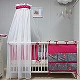 Babymajawelt Baby Bettwäsche Set, Bett Set 4 tlg. VOILE fürs BABYBETT 70x140 cm, Bettwäsche 100x135, Nestchen, Himmel Voile (Baldachim, Moskito) (Tänzer-Fee pink)