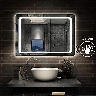 Aica 1000 x 700mm Horizontal LED Illuminated Bathroom Mirror Light Sensor Switch + Demister Wall Mounted Vanity Mirror