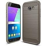 """MOONCASE Galaxy A5 (2017) Coque, Fibres de Carbone Housse Resilient TPU Etui Antichoc Protection Armure Case pour Samsung Galaxy A5 2017 A520 5.2"""" Gris"""