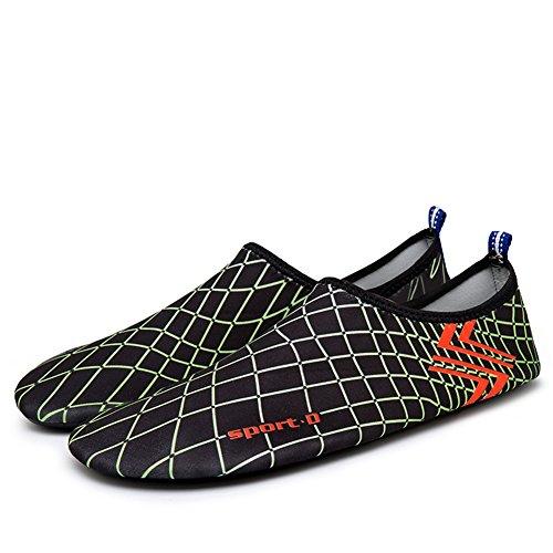 MAYZERO Unisex Scarpe da Acqua per Uomo e Donna Aqua calzini per Immersione Nuotare Spiaggia Surf Yoga Nero&Verde-6