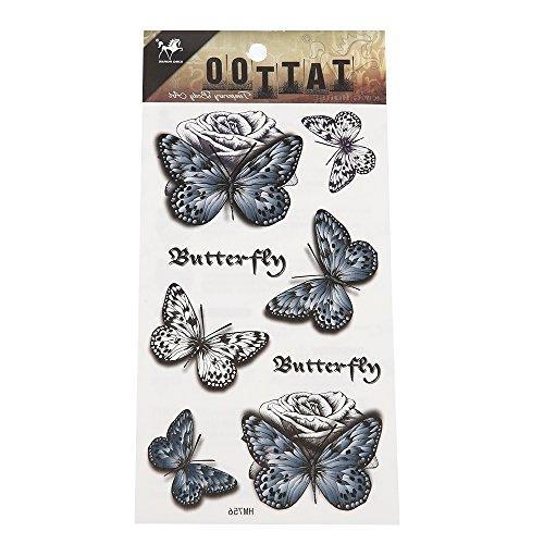 Preisvergleich Produktbild Tattoo Schmetterlinge Vintage schwarz grau weiß Rose Schrift 8 Motive 1 Bogen