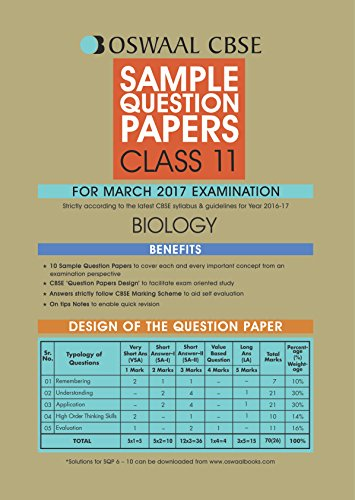 Oswaal CBSE Sample Question Papers For Class 11 Biology (For 2017 Exams)