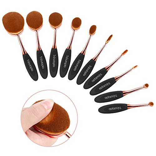 Trèsutopia Lacaresse ovales Make-up Pinsel Set, 10-teilig, Make-up Bürsten, Kosmetik Pinsel, Schminkenpinsel für Foundation, Eyeliner, Lidschatten, Puder, Concealer, (Tutorial Make Up Anfänger)
